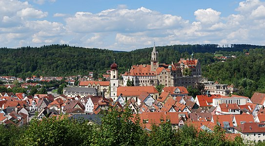 View over the town of Sigmaringen, Baden-Württemberg.
