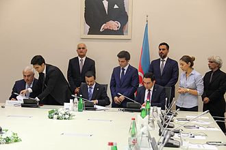Port of Baku - The Ministry of Economy, the Port of Baku and DP World group of companies signing a contract on establishment of Alat FTZ
