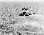 Sikorsky SH-3A Sea Kings of HS-3 approach the Gemini-Titan 3 spacecraft in the Atlantic Ocean on 23 March 1965 (S65-19229).jpg