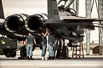 Singapore air force crew chiefs perform post-flight checks on their F-15SG Strike Eagle aircraft at Mountain Home Air Force Base, Idaho, Oct. 7, 2013, during exercise Mountain Roundup 2013 131007-F-WU507-025.jpg