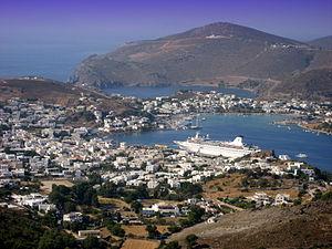 English: The Port (Skala) of Patmos Island, Gr...