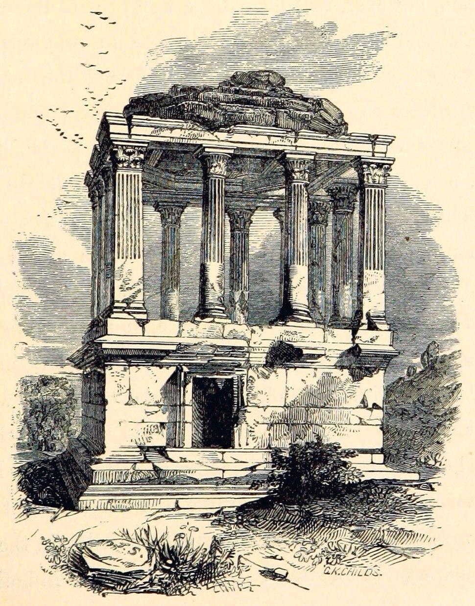 Sketch of Gümüşkesen Tomb at Milas 1866