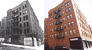 Clason Point, Bronx - Before and after rehabilitation; the building is now low-income housing.