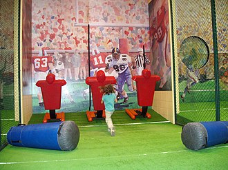 College Football Hall of Fame - Blocking activity cage.