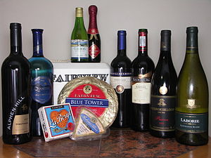 A collection of South African wines and cheese