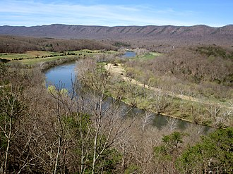 Shenandoah River - The South Fork Shenandoah River, with Massanutten Mountain in the background, as viewed from an overlook in Shenandoah River State Park.
