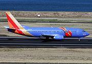 A Southwest 737-300 at Portland International Airport