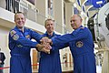 Soyuz MS-08 crew at the Gagarin Cosmonaut Training Center in Star City.jpg