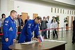 Soyuz MS-10 crew at the Gagarin Cosmonaut Training Center in Star City.jpg
