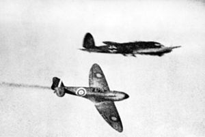 Spitfire and He 111 during Battle of Britain 1940.jpg