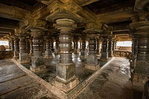 Veera Narayana Temple, Belavadi - Lathe turned pillars of the mantapa between the Venugopala and Yoga Narasimha shrines of the Veeranarayana temple at Belavadi