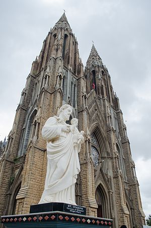 St. Philomena's Cathedral, Mysore - Statue of St. Joseph in front of the church