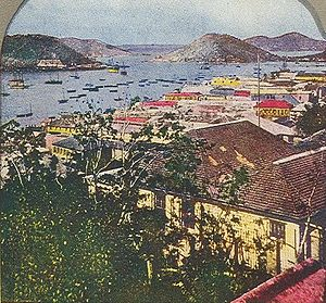 "Edwin Taylor Pollock - ""Beautiful Harbor of St. Thomas, West Indies"", circa 1900"