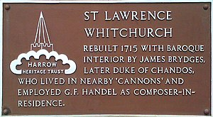 St Lawrence's church, Whitchurch - Plaque