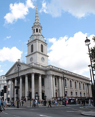 James Gibbs - St Martin-in-the-Fields, London, is the prototype of many New England churches.