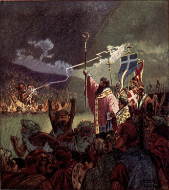 Magh Slécht - St Patrick casts down Cromm Cruach and the twelve idols; from a 1911 illustration by Curtis Dunham.