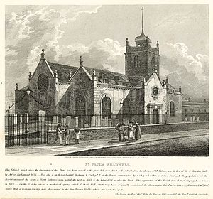 St Paul's Church, Shadwell - St Paul's Shadwell in 1819