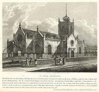 St Paul's Church, Shadwell - St Paul's Shadwell in 1819