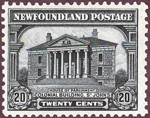 Postage stamps and postal history of Canada - A 20 cent Newfoundland stamp of 1928.