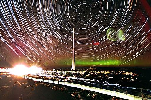 Star trail and aurora over Mount Wellington, Tasmania