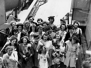 War bride - English war brides who arrived in Brisbane in October 1945