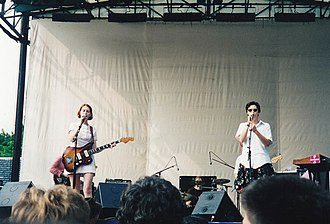 Stereolab - Members Mary Hansen and Laetitia Sadier perform in Central Park, New York City, 1995