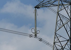Tuned mass damper - Stockbridge dampers on a 400 kV power line near Castle Combe, England