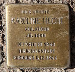 Photo of Karoline Hecht brass plaque