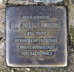 Photo of Julius Moses brass plaque