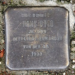 Photo of Hans Otto brass plaque