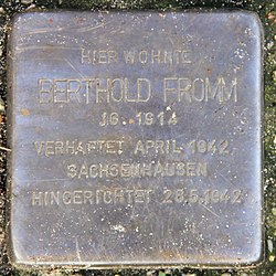 Photo of Berthold Fromm brass plaque