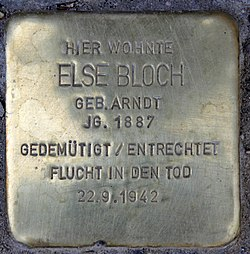 Photo of Else Bloch brass plaque