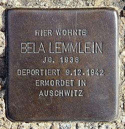 Photo of Bela Lemmlein brass plaque