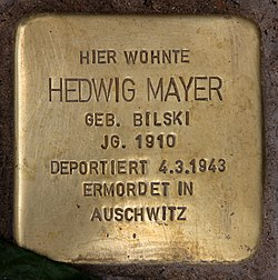 Photo of Hedwig Mayer brass plaque