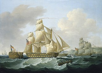 Battle of Cape Ortegal - Bringing Home the Prizes - aftermath of the battle by Francis Sartorius