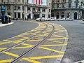 Streetcar track around traffic circle (18621245088).jpg