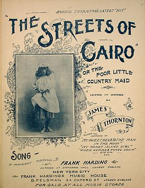 """The Streets of Cairo, or the Poor Little Country Maid - 1895 sheet music cover for """"The Streets of Cairo"""""""