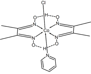 Dimethylglyoxime - Structure of chloro(pyridine)cobaloxime