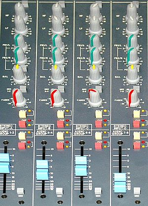 Stem mixing and mastering - Image of Sub-group (stem) busses on a mixing console.