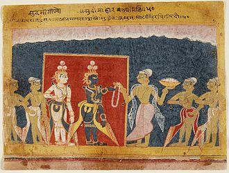 Sudama - Sudama offers a Garland to Krishna. Folio from a 16th-century Bhagavata Purana manuscript