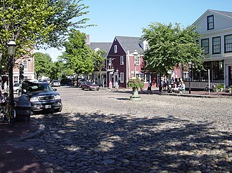 Nantucket - The cobblestone Main Street in historic downtown Nantucket