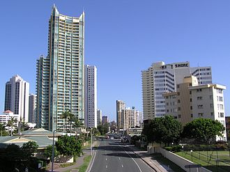 Gold Coast Highway - Gold Coast Highway looking south near Birt Ave with Sun City building on the left. Image taken in 2007, before the upgrade. This section of the highway is now 2 lanes each way.