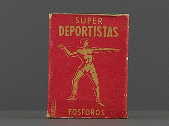Super Deportistas matches from mid 20th century Mexico, part of the permanent collection of the Museo del Objeto del Objeto, in Mexico City. SuperDeportistas.JPG