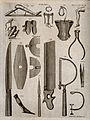 Surgical instruments. Engraving by Andrew Bell. Wellcome V0016380.jpg