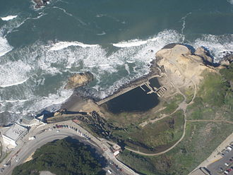 Sutro Baths - An aerial view over the ruins of Sutro Baths, also showing the Cliff House (left)