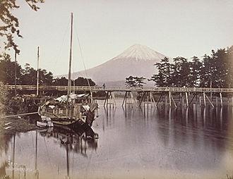 Suzuki Shin'ichi I - View of Mount Fuji. Hand-coloured albumen silver print, 19th century.