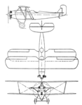 Svenska SA-12 Skolfalken 3-view Aero Digest April,1930.png