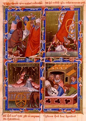 Banat in the Middle Ages - Martyrdom and funeral of Bishop Gerard of Csanád (from the Anjou Legendarium)