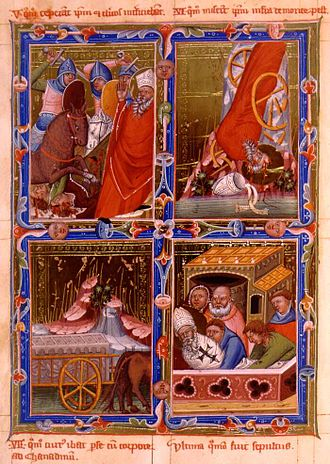 Andrew I of Hungary -  Pagans slaughtering priests and the martyrdom of Bishop Gerard of Csanád depicted in the Anjou Legendarium