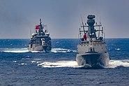 TCG Barbaros (FF 244) and Burgazada (F 513) in the Mediterranean Sea, Aug 26, 2020
